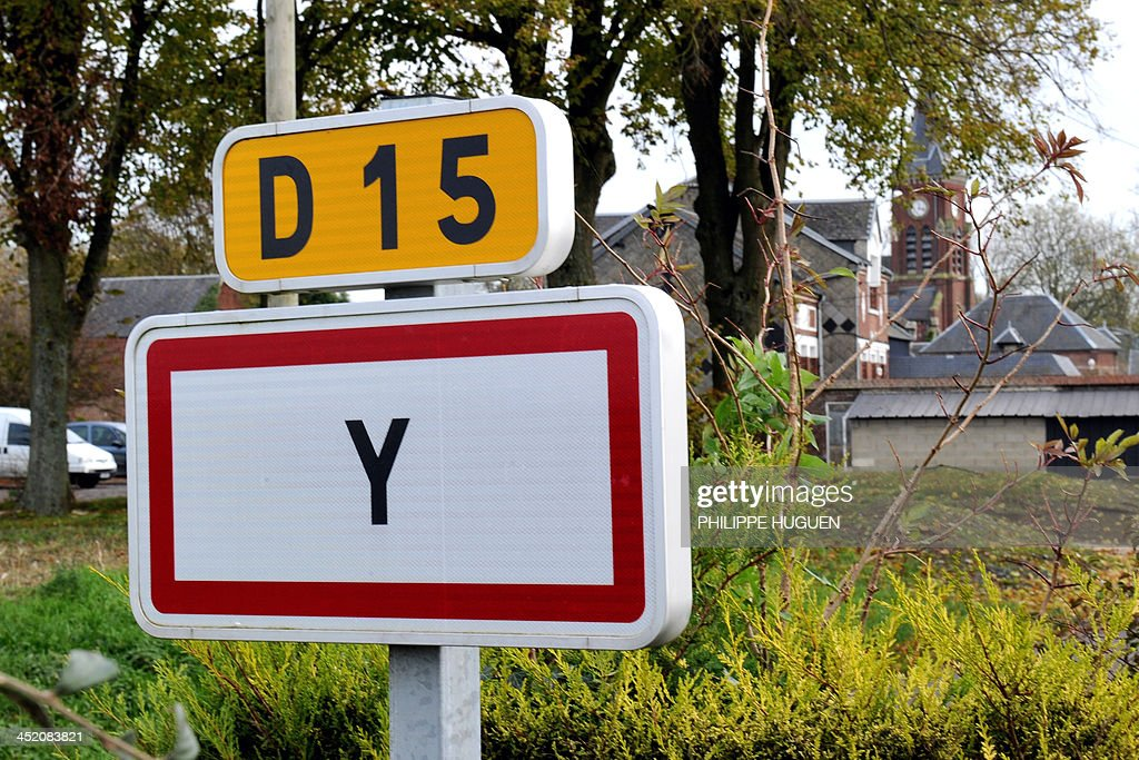 A picture taken on November 26, 2013 shows the entry sign of Y, French city with the shortest name.
