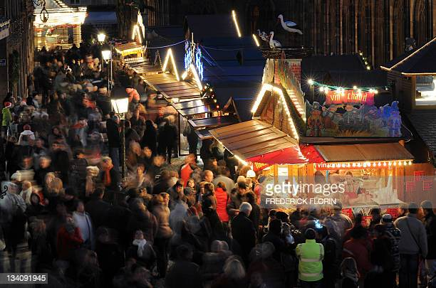 BOUVIER A picture taken on November 27 2010 shows people walking during the opening of the Strasbourg Christmas market which is the largest and one...