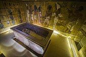 A picture taken on November 28 2015 shows the sarcophagus of King Tutankhamun displayed in his burial chamber in the Valley of the Kings close to...