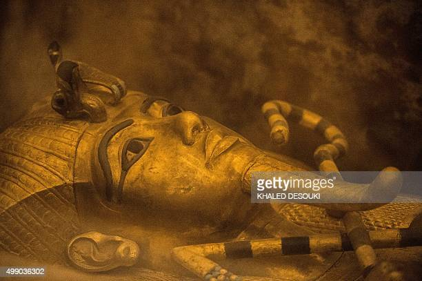 A picture taken on November 28 2015 shows the sarcophagus of King Tutankhamun displayed in his burial chamber in in the Valley of the Kings close to...