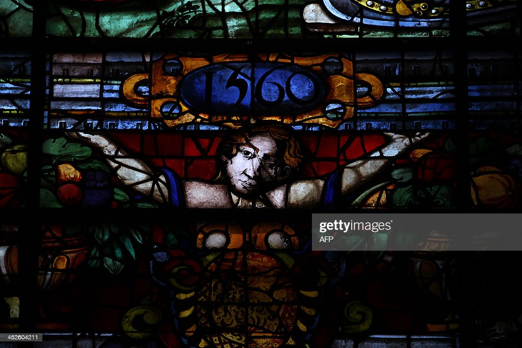 A picture taken on November 29, 2013 shows details of a stained-glass window at Sevilla's Cathedral.
