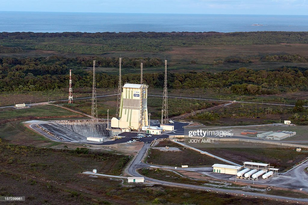 A picture taken on November 30, 2012 shows the Soyuz launch pad of the Center Spatial Guyanais (Europe's Spaceport) in French Guiana. The launch by the Soyuz rocket of the European civilian and military Earth observation Pleiades 1B has been postponed to December 1, 2012, Arianespace announced.