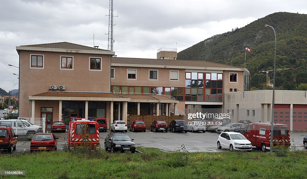 A picture taken on November 4, 2012 in Digne-les-Bains, southeastern France, shows the firehouse where two volunteer firefighters, including a 16-year-old man, who both died the day before while trying to extinguish a fire in Digne-les-Bains, were based.