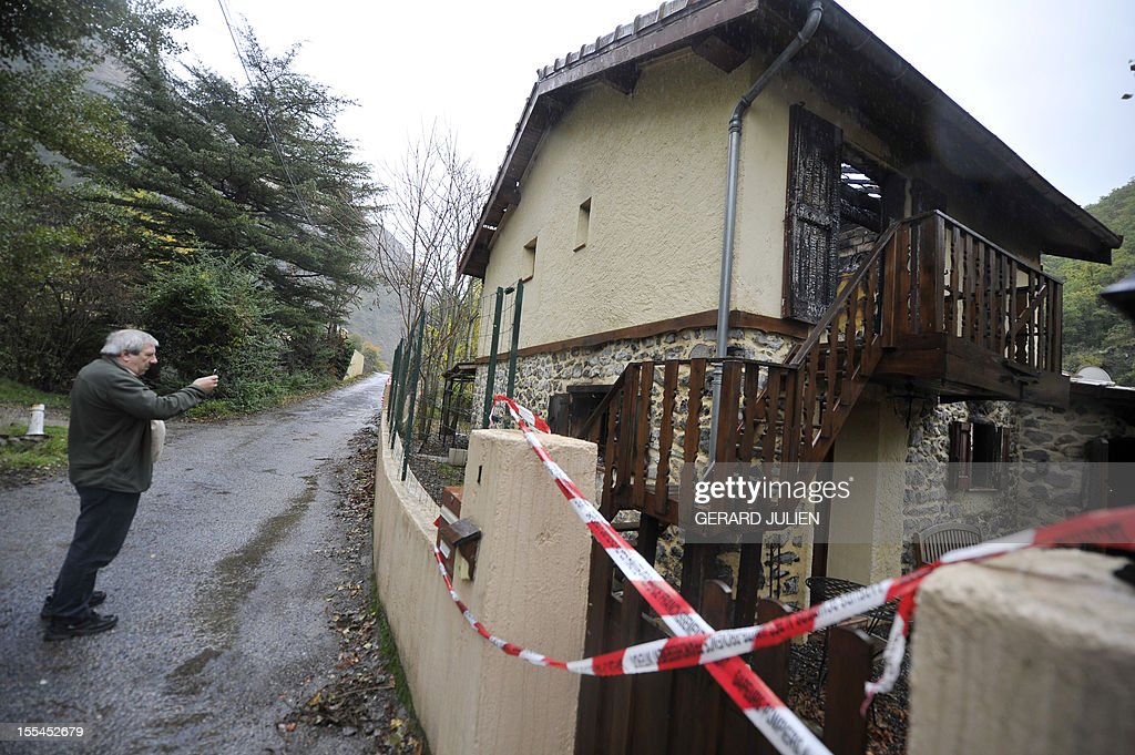 A picture taken on November 4, 2012 shows a burned house where two volunteer firefighters, including a 16 year-old man, died while trying to extinguish the fire in Digne-les-Bains, southeastern France.