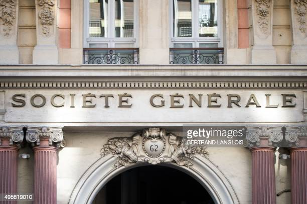 A picture taken on November 5 2015 shows a branch of the Societe Generale bank in Marseille southern France Societe Generale bank which also owns...