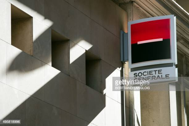 A picture taken on November 5 2015 shows the logo of the Societe Generale bank in Marseille southern France Societe Generale bank which also owns...