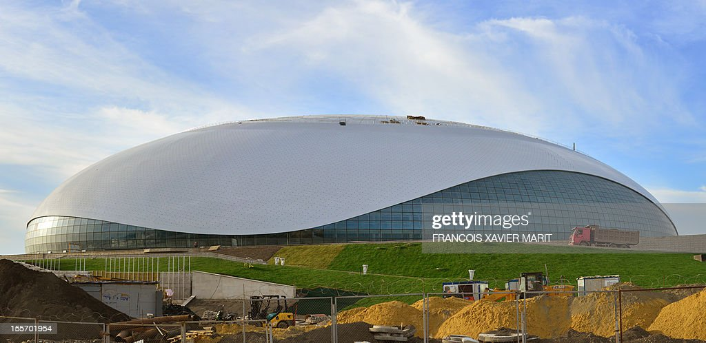 A picture taken on November 6, 2012 shows the newly constructed Bolshoi ice dome in Sochi which will be home to the ice hockey tournament at the 2014 winter olympics. The Bolshoi ice dome is part of the coastal cluster of stadiums built to house the indoor disciplines. MARIT