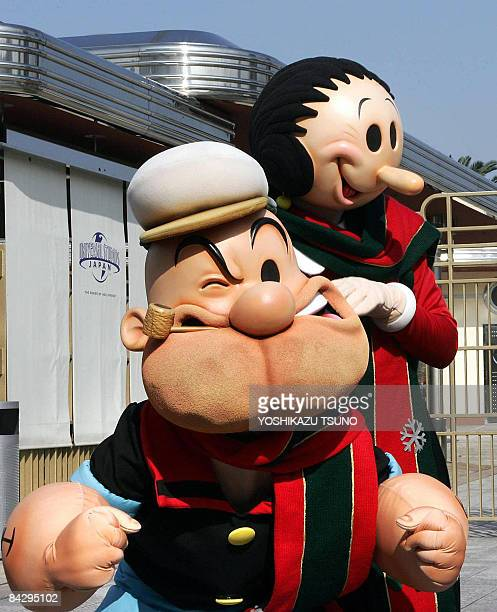 FILES Picture taken on November 9 2004 shows Universal Pictures cartoon characters Popeye and his partner Olivia at the Universal Studios Japan theme...
