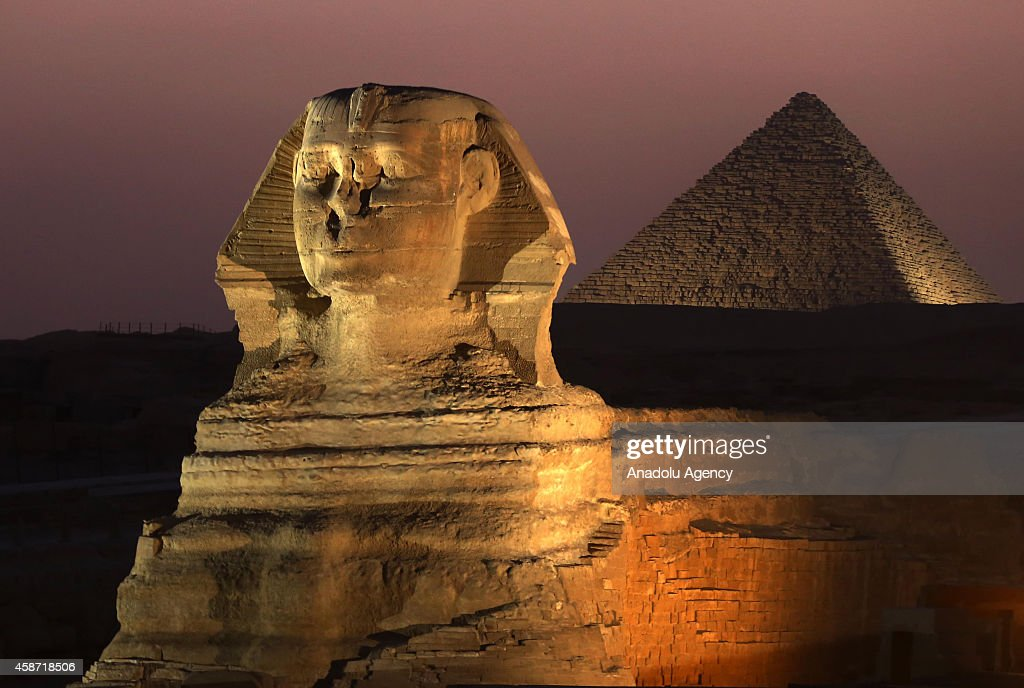 A picture taken on November 9 shows the Great Sphinx in Giza Egypt after 3 years of restoration The restoration came as part of a project by the...
