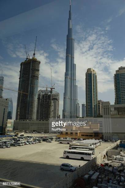 A picture taken on October 10 2016 shows the Burj Khalifa tower in Dubai the the largest and most populous city in the United Arab Emirates and...