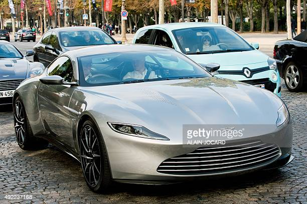 A picture taken on October 11 2015 shows the Aston Martin DB10 the James Bond's car in the next movie 'Spectre' scheduled for November during a ride...