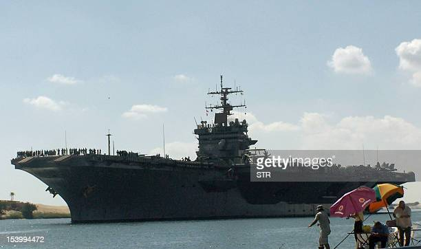 A picture taken on October 12 2012 from the Egyptian port of Ismalia 120 kilometers northeast of Cairo shows US army naval ship USS Enterprise the...