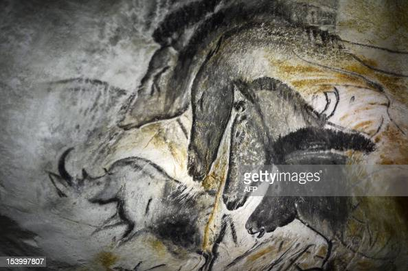 Picture taken on October 12 2012 in VallonPontd'Arc of a prototype of painting of the facsimile of the Chauvet cave which contains some of the...
