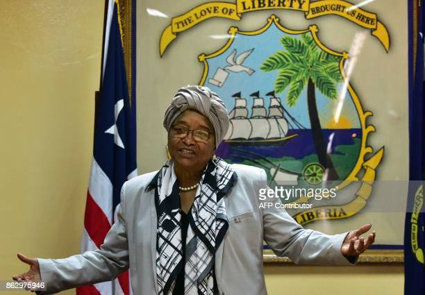 A picture taken on October 12 2017 in Monrovia shows Liberia's President Ellen Johnson Sirleaf Africa's first elected female head of state stepping...