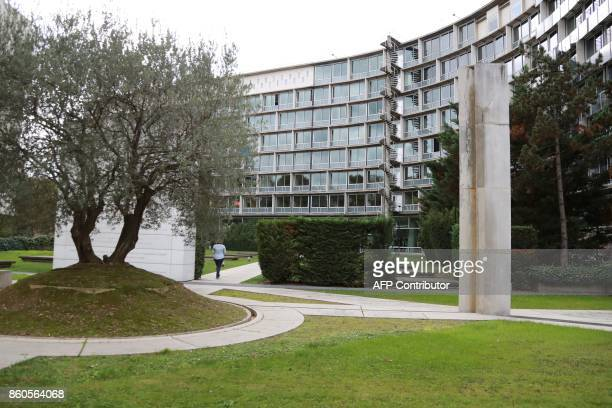 A picture taken on October 12 2017 shows the United Nations Educational Scientific and Cultural Organisation headquarters in Paris The United States...