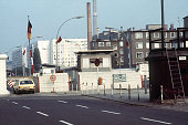 Picture taken on October 13 1976 of the Heinrich Heine Strasse checkpoint between East and West Berlin The Berlin wall built by the East German...