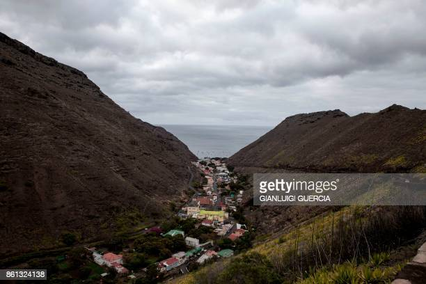A picture taken on October 14 2017 shows a general view of Saint Helena's capitol Jamestown on the day of the first inaugural commercial plane from...