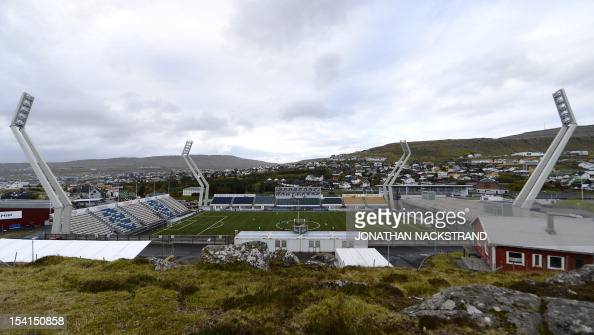 Picture taken on October 15 2012 shows a general view of Torsvollur stadium in Torshavn AFP PHOTO / JONATHAN NACKSTRAND