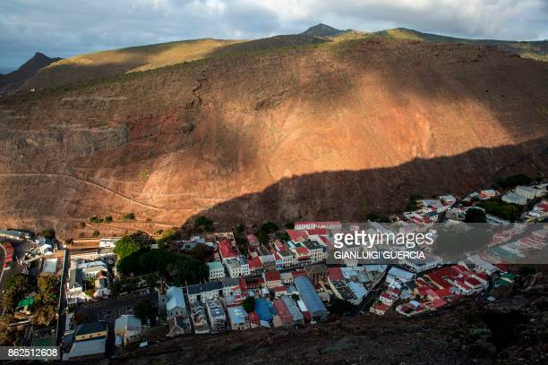 A picture taken on October 15 2017 from a hill shows a general view of Saint Helena's capital Jamestown on the British Overseas Territory of Saint...