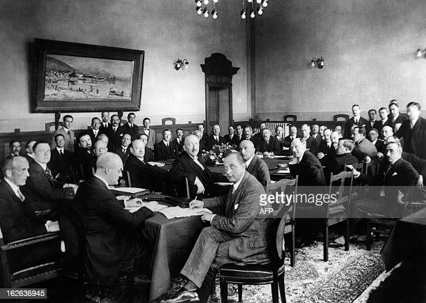 A picture taken on October 16 1925 shows French Foreign Minister Aristide Briand and his German counterpart Gustav Stresemann during the signing...