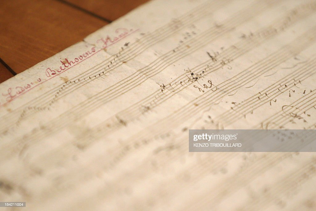 A picture taken on October 16, 2012 at Sotheby's auction house in Paris shows German composer and pianist Ludwig van Beethoven handwritten partition which will be auctionned at Sotheby's on October 17,2012.