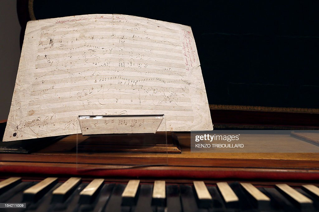 A picture taken on October 16, 2012 at Sotheby's auction house in Paris shows German composer and pianist Ludwig van Beethoven handwritten partition which will be auctionned at Sotheby's on October 17,2012. AFP PHOTO KENZO TRIBOUILLARD