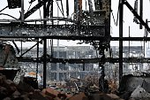 A picture taken on October 16 2014 shows a terminal at the Donetsk's Sergey Prokofiev international airport during a shelling between Ukrainian army...