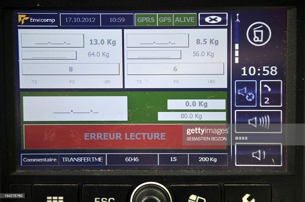 A picture taken on October 17, 2012 shows the screen of a garbage disposal system monitoring bins' weight during waste collecting in a truck, in Serre-Les-Sapins, near the French eastern town of Besancon. This 'intelligent' garbage disposal system collects waste for nearly 180,000 inhabitants in and around Besancon according to the bins' weight.