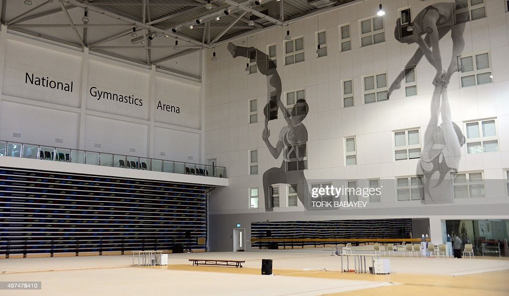 A picture taken on October 17 2014 shows an inside view of the National Gymnastics Arena in Baku The First European Games will take place in Baku...