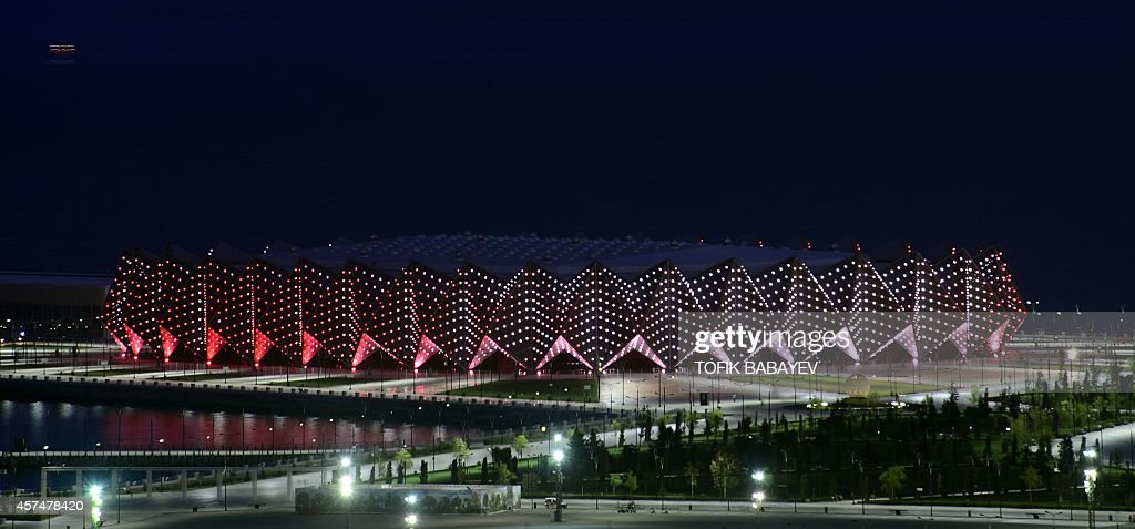 A picture taken on October 17 2014 shows the Crystal Hall dedicated to handball and indoor volleyball events during the inaugural 2015 European Games...