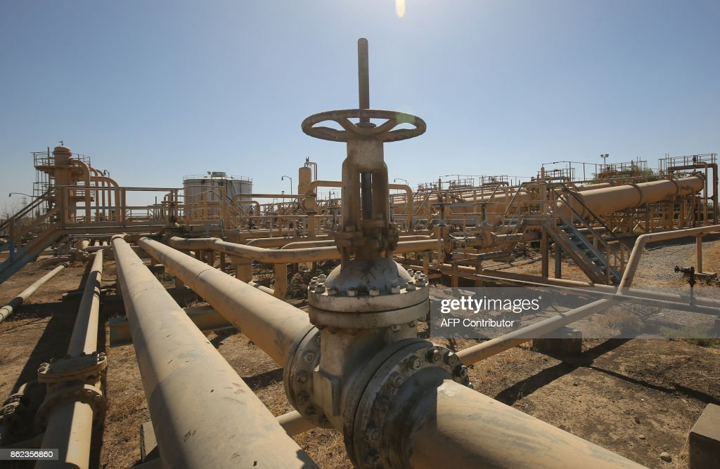 A picture taken on October 17, 2017 shows the Bai Hassan oil field, west of the multi-ethnic northern Iraqi city of Kirkuk. Iraqi forces took control of the two largest oil fields in the disputed northern province of Kirkuk demolishing Kurdish hopes of creating a viable independent state. /