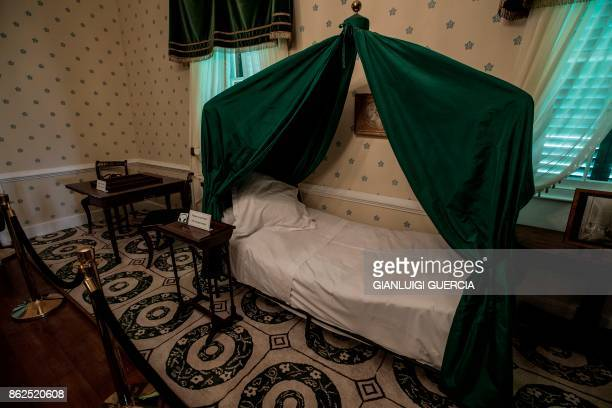 A picture taken on October 17 2017 shows the death bed of Napoleon in his last residence in exile at Longwood on the British Overseas Territory of...