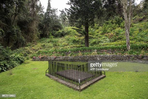 A picture taken on October 17 2017 shows the gravesite of French Emperor Napoleon on the outskirts of Longwood on the British Overseas Territory of...