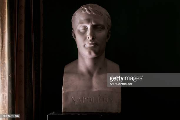 A picture taken on October 17 2017 shows the marble bust of Napoleon in a Generals House room in Napoleon House compound of the last residence of...