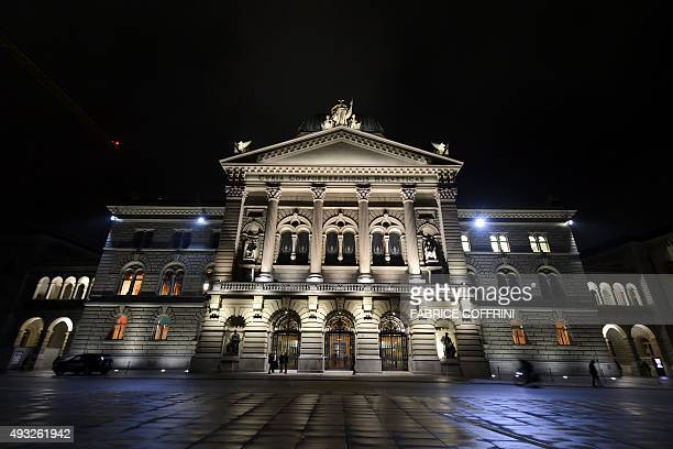 A picture taken on October 18 2015 shows the House of Parliament in Bern Switzerland's largest party the populist rightwing antiimmigrant Swiss...