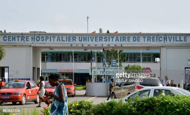 A picture taken on October 18 shows the entrance to the Treichville University Hospital in Abidjan / AFP PHOTO / ISSOUF SANOGO