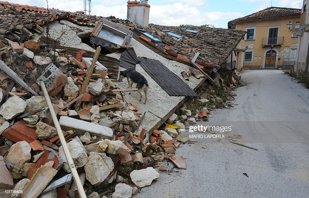 Picture taken on October 20 2010 in the village of Villa Sant'Angelo showing destroyed houses after 2009 L'Aquila earthquakeThe villages of Villa...