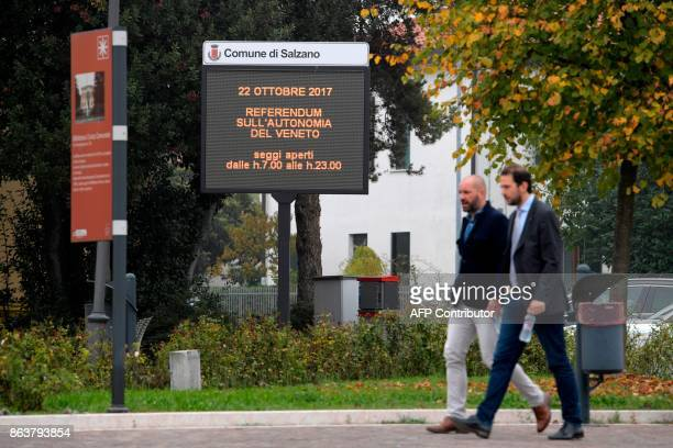A picture taken on October 20 2017 in Salzano Veneto shows an announce for the referendum vote in Italy's northerneast region of Veneto Venice is...