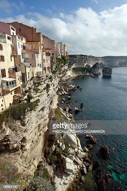 A picture taken on October 22 2013 shows the cliffs and the old city of Bonifacio France's southern Mediterranean island of Corsica Bonifacio is...