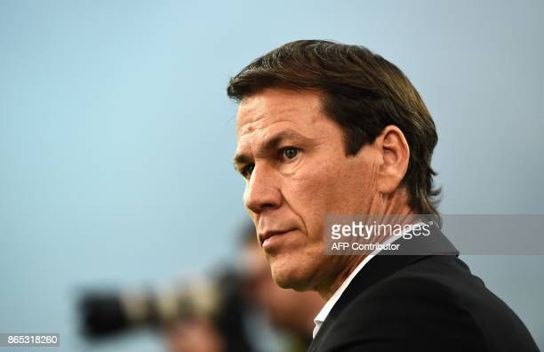 A picture taken on October 22 2107 shows Marseille's French head coach Rudi Garcia looking on at the Velodrome stadium in Marseille southern France...