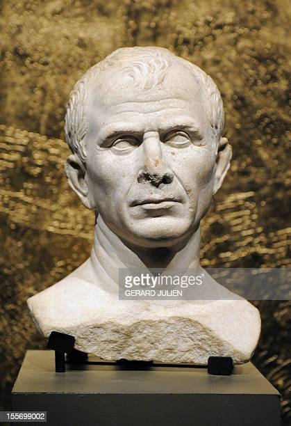 A picture taken on October 23 2009 shows the bust of Julius Caesar believed to be the oldest representation of the Roman emperor yet known at the...