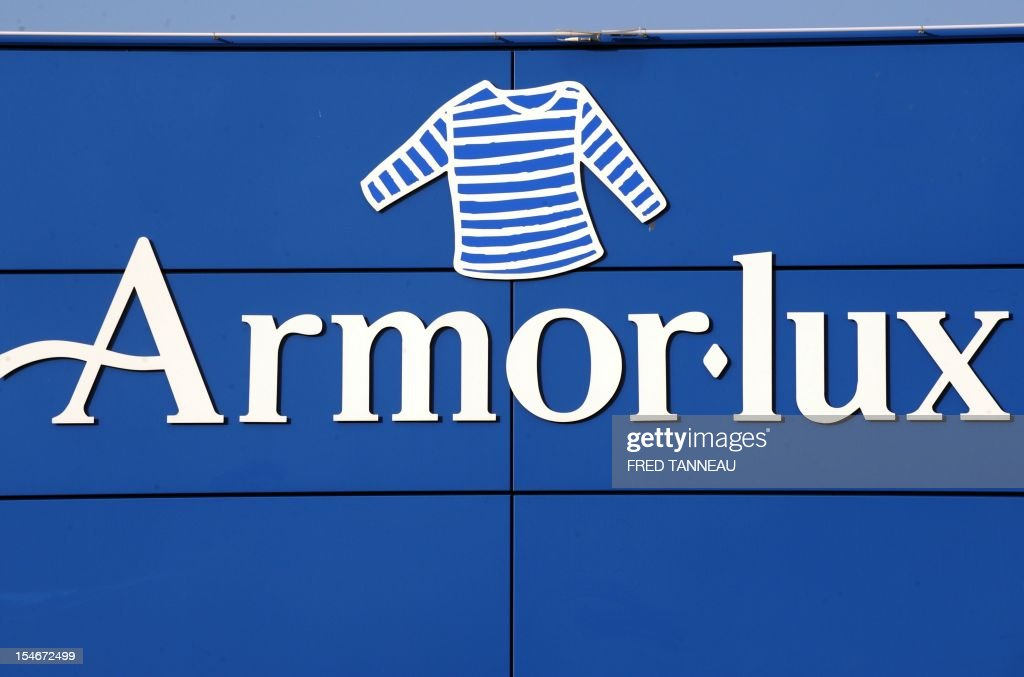 A picture taken on October 24, 2012 in Quimper, western France, shows a logo of the Breton style knits French specialist, Armor Lux.