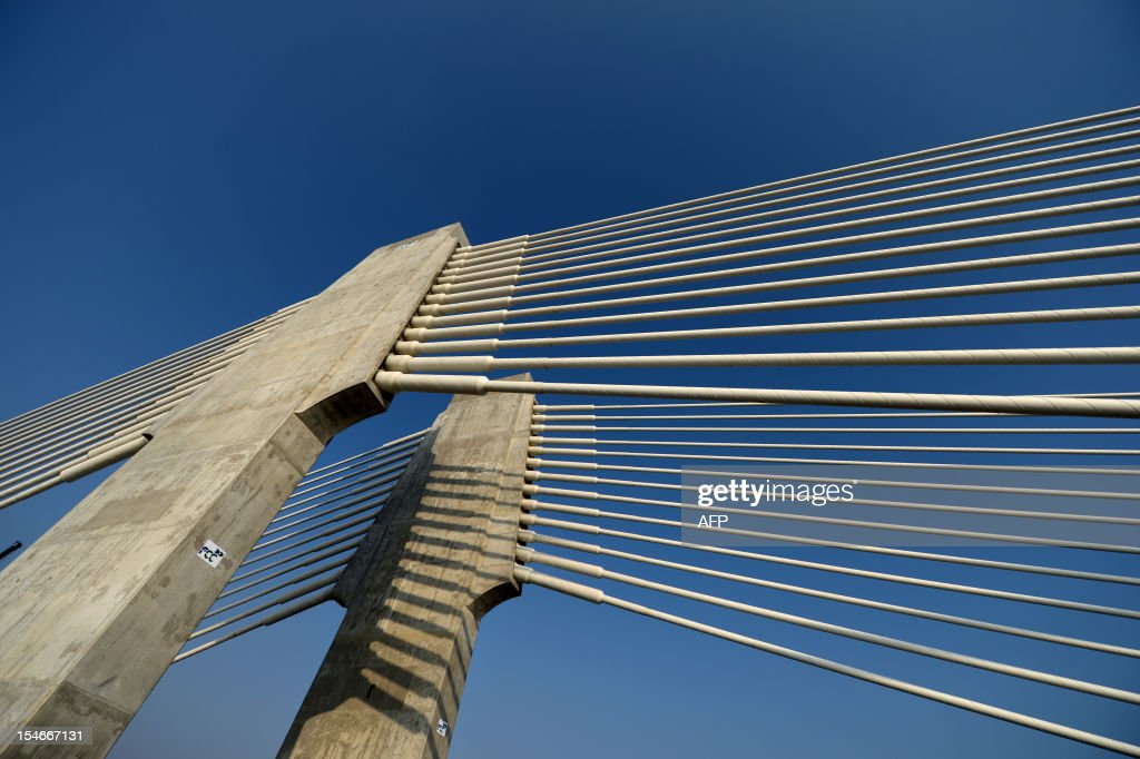 A picture taken on October 24, 2012, shows a part of the constructions of the Calafat-Vidin bridge on the Danube river between Bulgaria and Romania.