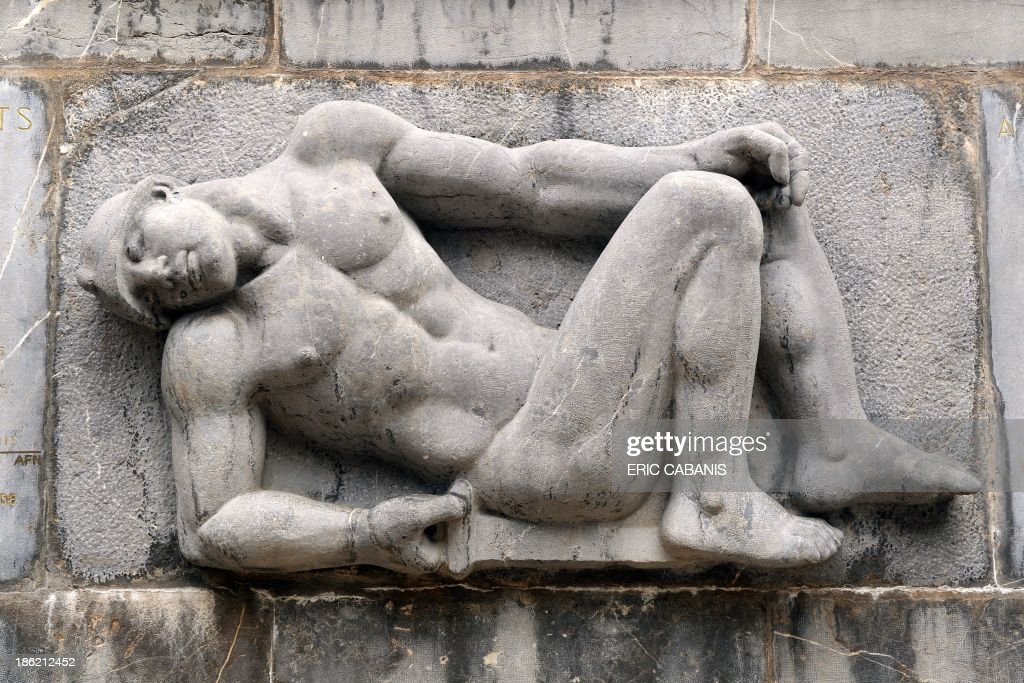 A picture taken on October 25, 2013 shows a detail at a World War I memorial created in 1933 by French sculptor Aristide Maillol (1861-1944) in the French southern village of Banyuls-sur-Mer. 2014 will mark the 100th anniversary of the First World War, of which the commemorations will be the first without any direct witnesses of the conflict, as they all passed away.