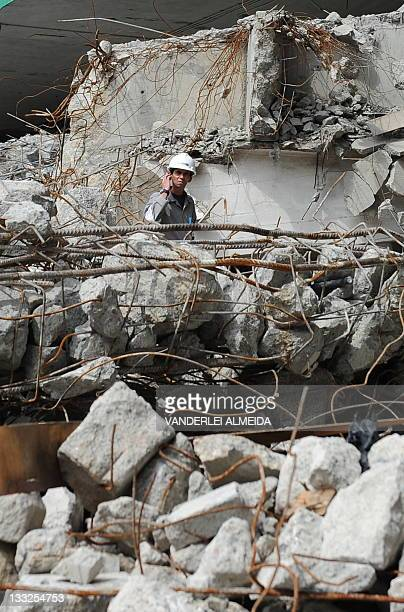 Picture taken on October 26 2010 at Rio de Janiero's Mario Filho stadium better known as Maracana currently undergoing reconstruction works for the...