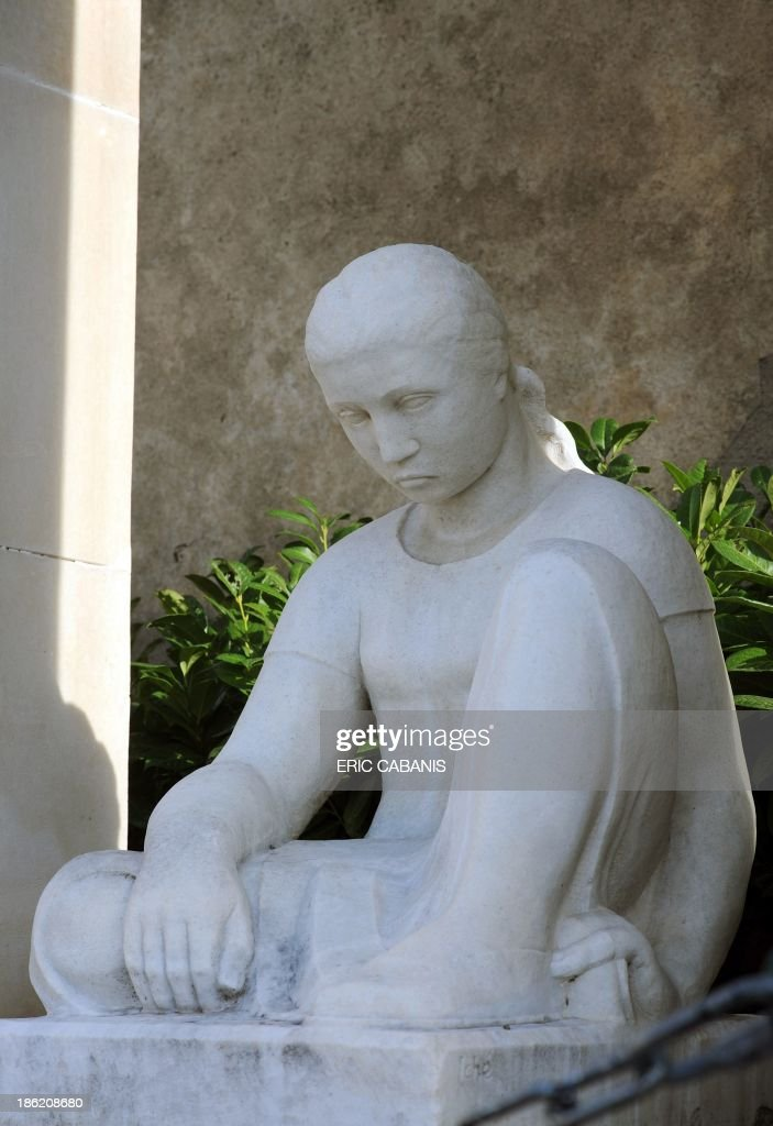 A picture taken on October 27, 2013 shows a marble statue at a World War I memorial created in 1927 by French sculptor Rene Iche (1897-1954) in the French southern village of Ouveillan. 2014 will mark the 100th anniversary of the First World War, of which the commemorations will be the first without any direct witnesses of the conflict, as they all passed away.