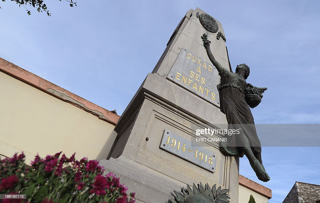 A picture taken on October 27, 2013 shows a World War I memorial in Cuxac-d'Aude, southern France. 2014 will mark the 100th anniversary of the First World War, of which the commemorations will be the first without any direct witnesses of the conflict, as they all passed away.