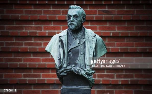 A picture taken on October 3 2011 shows the statue of Alfred Nobel at the Karolinska Institute in Stockholm The 2011 Nobel Prize for Medicine is...