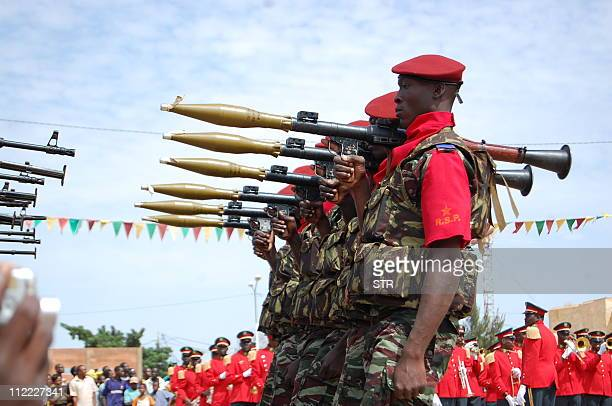 A picture taken on October 31 2008 shows the presidential guard of Burkina Faso's President Blaise Compaore parading during the National day at the...
