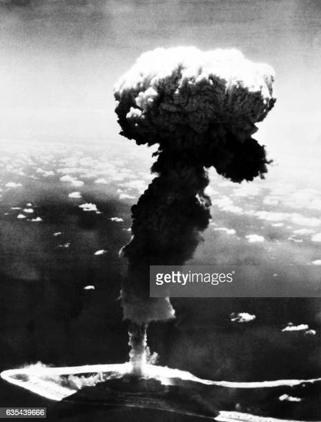 Picture taken on October 4 1966 shows a French nuclear test in the south Pacific atoll of Mururoa / AFP /